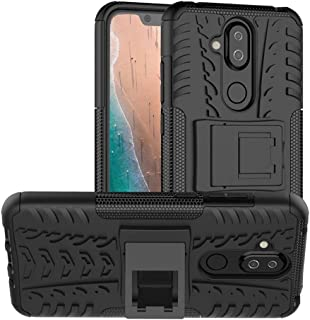 Nokia 8.1 Case, PUSHIMEI Air Cushion Heavy Duty Shockproof with Kickstand Hard PC Back Cover Soft TPU Dual Layer Protection Phone Stand Case Cover for Nokia 8.1 Black Nokia 8.1