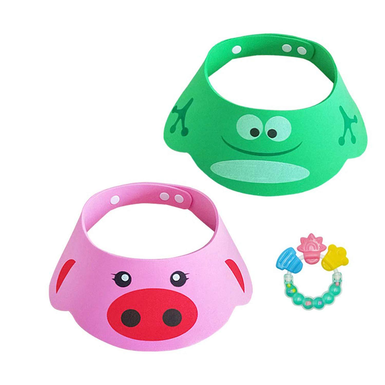 GUGELIVES Lovely Shampoo Shower Bathing Protection Bath Cap Soft Adjustable Visor Cartoon (Pig & Frog) Hat for Toddler, Baby, Kids, Children