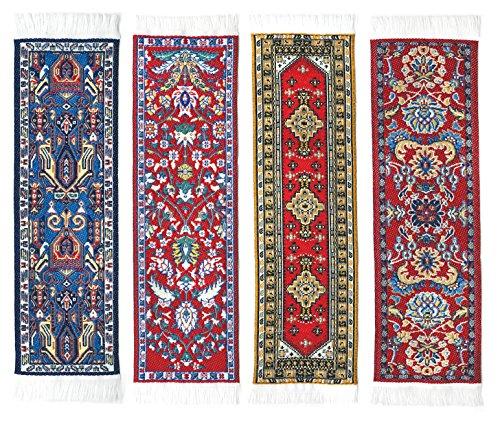 Oriental Carpet Bookmarks #1 - Authentic Woven Carpet (Set of 4)
