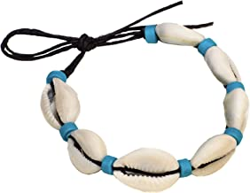 BlueRica Black Cord Cowrie Shell Anklet Bracelet with Light Blue Accent Beads