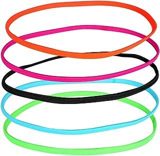 LURROSE 12 peças de faixa de cabelo antiderrapante para ioga e fitness acessórios de cabelo fino (cor aleatória)
