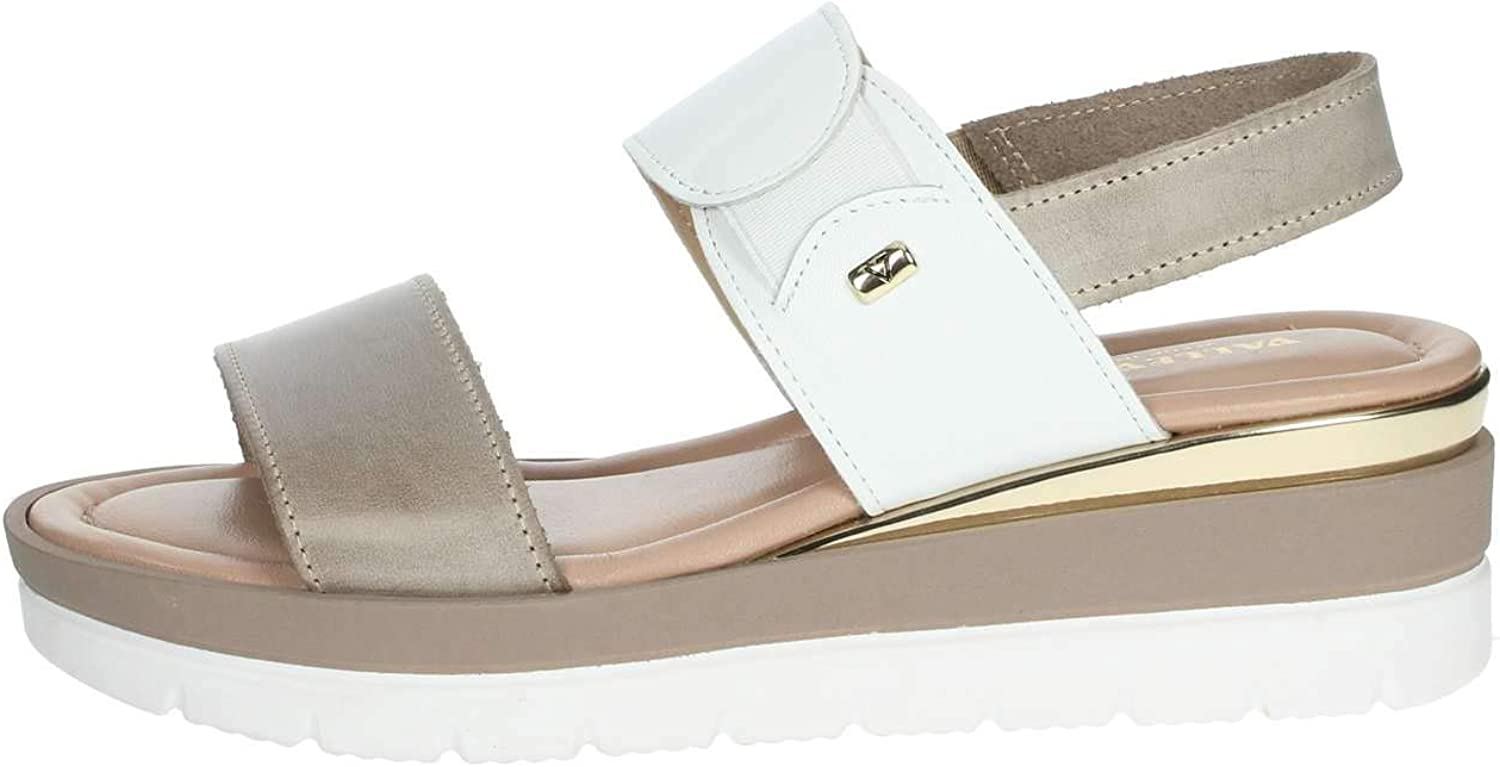 Vallegreen Sandals Wedge shoes Woman Beige Leather Made in