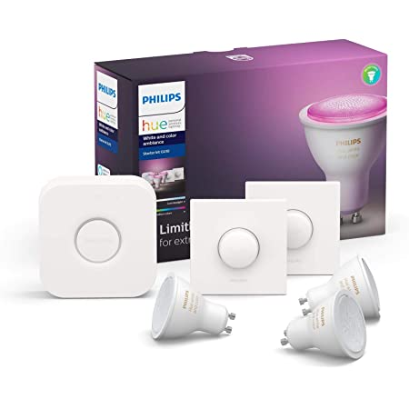 Philips Hue Pack de 3 Bombillas Inteligentes LED GU10, con Bluetooth, Puente y 2 Interruptores, Luz Blanca y Color, Compatible con Alexa y Google Home
