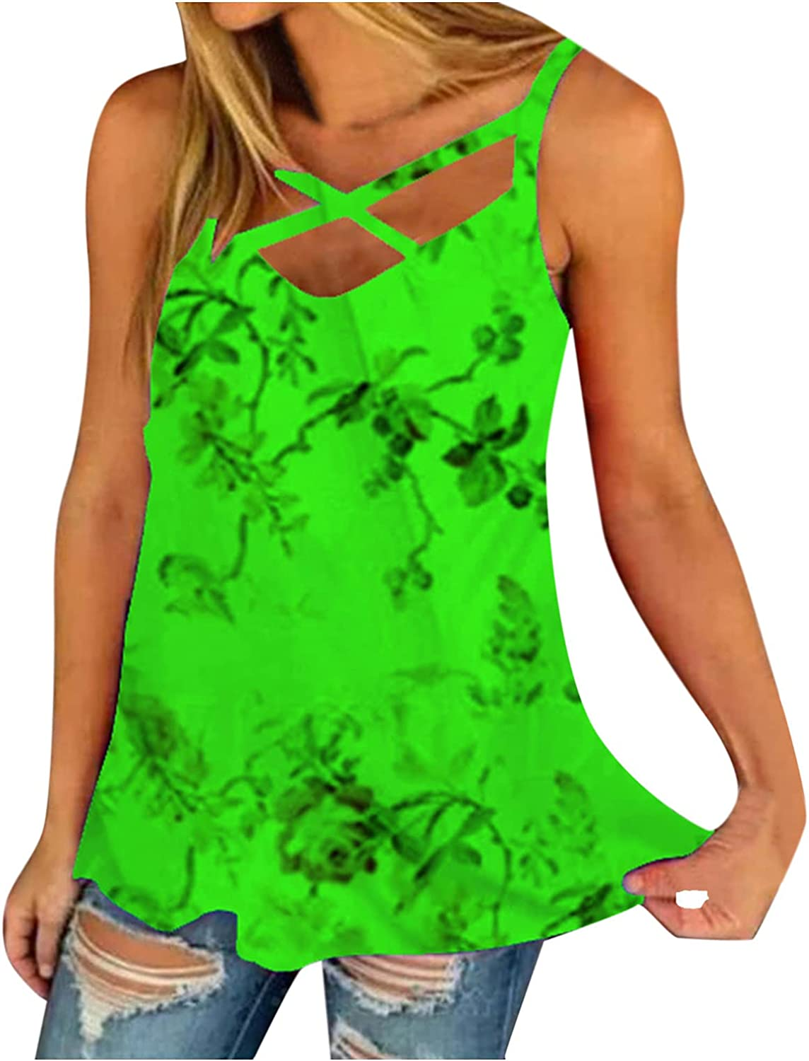 USYFAKGH 丨vest for Women casual丨Prints Fake Two Piece Sleeveless Tops Summer Casual Loose Tee Shirts