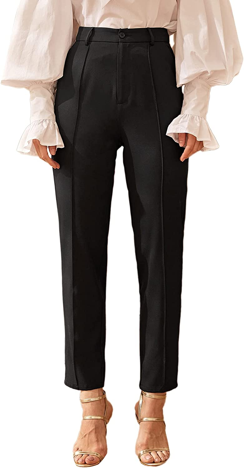 Floerns Women's Casual Solid High Waisted Workout Pants Office Trousers