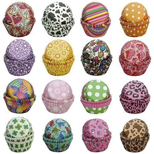 Cupcake Liners Baking Cups SophieBella Value Pack for Party, Holiday, Birthday (400 ct 16 styles Random)