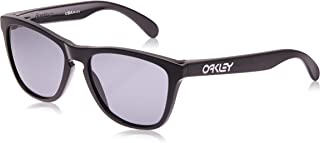 Oakley Men's OO9013 Frogskins Square Sunglasses, Polished Black/Grey, 55 mm