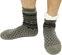 Super Soft Thick Warm Fuzzy Fleece Lined Winter Mens Slipper Socks With Grips