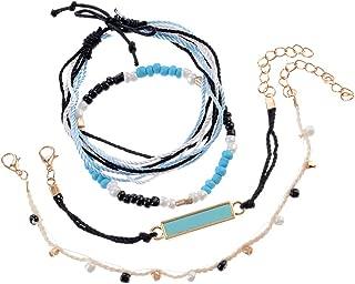 Handmade Braided Wax Rope Adjustable Strand Wrap Bracelet Set Waterproof Wave Shell Charm Stretch Knot String Thread Bracelets Friendship Jewelry (D)