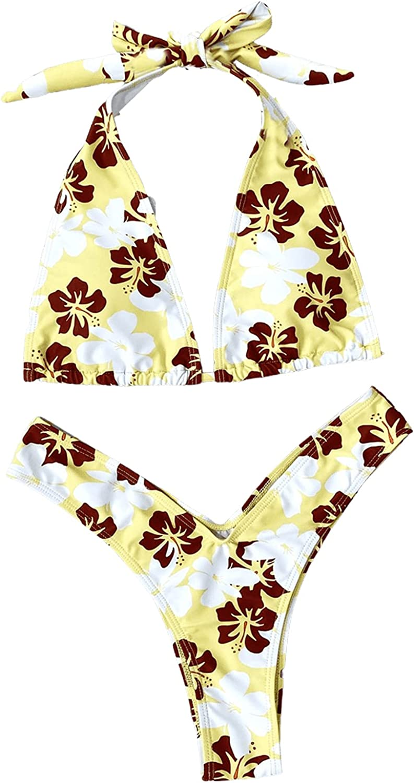 SOLY HUX Women's Floral Print Halter High Cut Bikini Bathing Suit 2 Piece Swimsuits