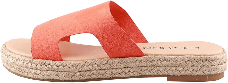 Women's Espadrilles Flat Slide Sandals Open Toe Wide Strap Cut O