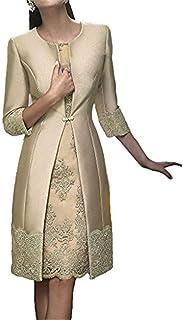 JINGDRESS - Vestido con Chaquetas para Mujer, Longitud del té, Dos Piezas