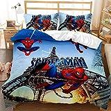 QWAS Marvel - Juego de ropa de cama infantil con diseño de Spiderman (3 piezas, para niños y adolescentes, muy suave y cómodo (A3,220 x 240 cm + 80 x 80 cm x 2)