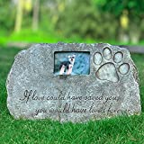 Re-Call Black Pet Tombstone Dog or Cat Memorial Stone Personalized with Waterproof Photo Dog or Cat Grave Markers in Lawn and Garden (Black)