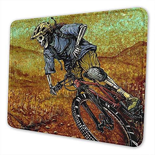 Wasbare muismat Schedel Mountainbike Niet Slip Gaming Mousepad Rechthoek Rubber Muis Mat Voor Computer/Laptop