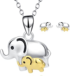 Elephant Necklace,Elephant Stud Earrings,Elephant Beacelets,Elephant Jewelry Set Sterling Silver Gold Good Lucky Mini Elephant Jewelry for Women Girls
