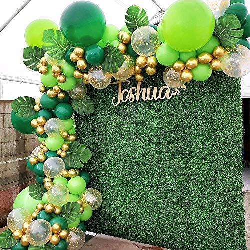Latocos Jungle Décorations Anniversaire Kit 112 Pcs Jungle Party Vert Ballon Garland Arc Feuilles de Palmier Confettis Ballon pour Garcon DinosaureTheme Fête Safari Jungle Party Supplies