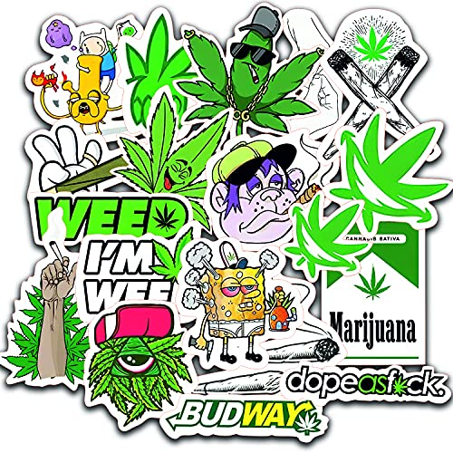 Weed Stickers for Adults 20pcs - Supreme Sticker Packs for Adults - 100% Vinyl Marijuana Stickers - Stoner Sticker Bomb - Hippie Trippie Stickers Pack