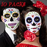 Day of the Dead Sugar Skull Tattoo (10 Pack) Temporary Face Sticker Kit, Halloween Masquerade Party Candy Face Tattoo Stickers for Women Men Adult Kids Boys Halloween Party Favor Supplies