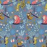 Verhees French Terry Monkey Party, Indigo 50x150 cm