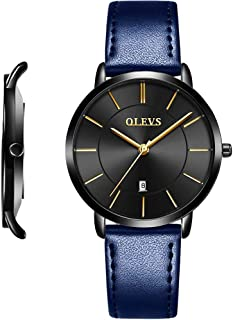OLEVS Minimalist Ultra Thin Big Face Date Dress Watches for Men Women Business Casual Simple Slim Quartz Analog Wrist Watch Waterproof 3ATM with Leather or Mesh Milanese Band Classic Gift