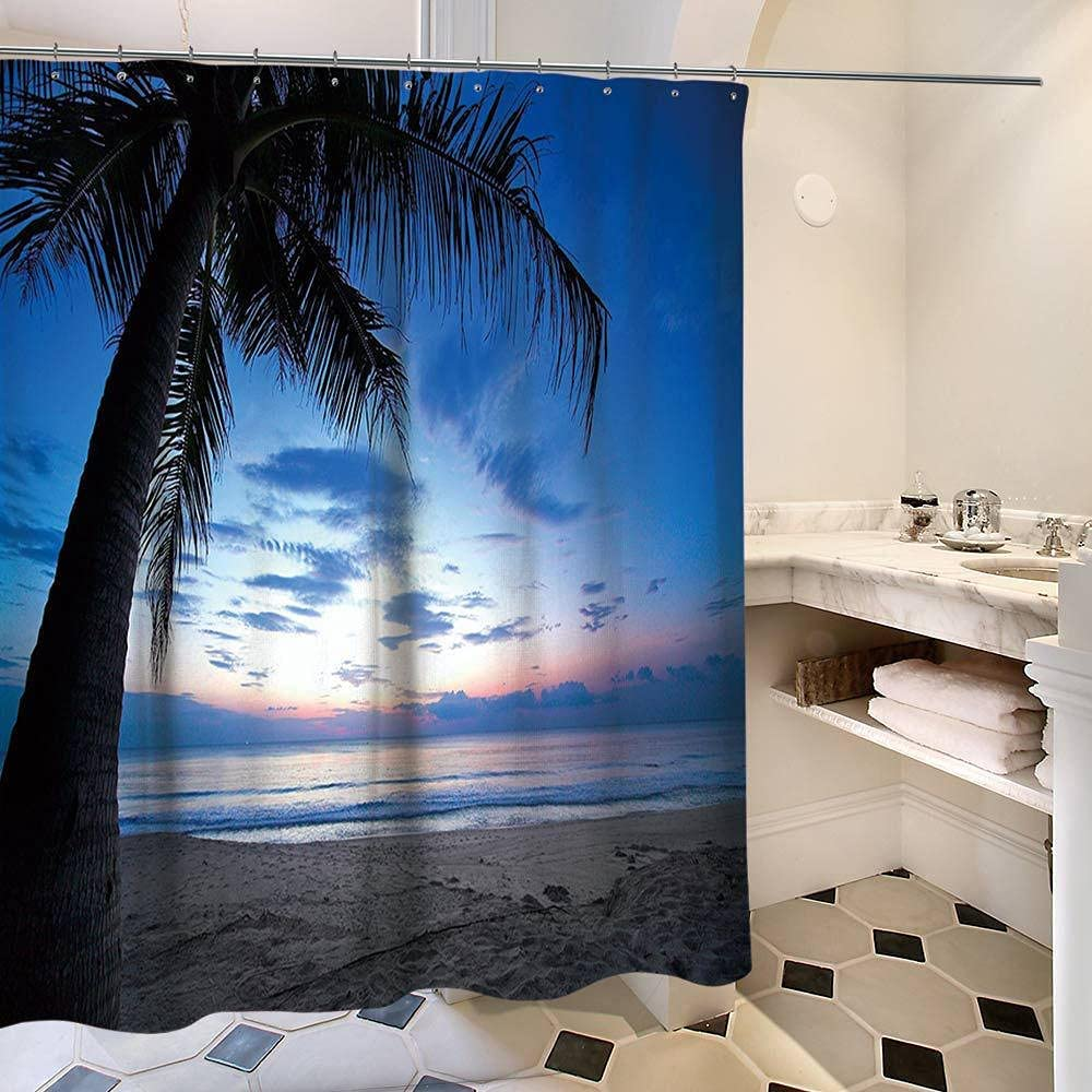 Sea Landscape San Antonio Mall Beauty products Beach Coconut Tree Shower Bath Single Curtain