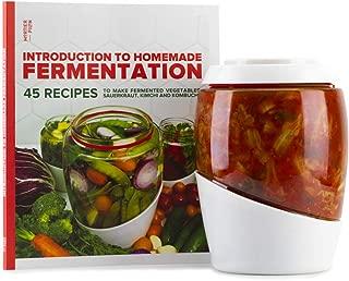 Mortier Pilon - 2L Glass Fermentation Crock + FREE Recipe Book – Make Easy Homemade Fermented Foods (kimchi, pickles, sauerkraut, organic vegetables)