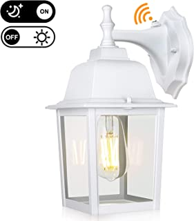"""WENFENG 12.6"""" High Outdoor Wall Light Fixtures with Dusk to Dawn Sensor,Anti-Rust Matte White Finish,Clear Glass Shade, Exterior Mount Lantern for Porch, Garden, Patio(Bulb Included)"""