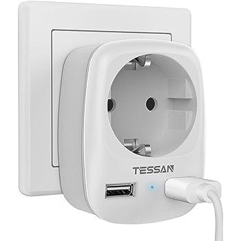 TESSAN Enchufe USB Pared, Ladron Enchufes (4000W) con Doble USB y 1 Toma de CA, Enchufe Multiple Cargador USB Pared Adaptador Enchufe con USB España, Ladron USB Carga para Movil iPad-Blanco: Amazon.es: