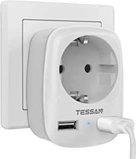 comprar comparacion TESSAN Enchufe USB Pared, Ladron Enchufes (4000W) con Doble USB y 1 Toma de CA, Enchufe Multiple Cargador USB Pared Adapta...