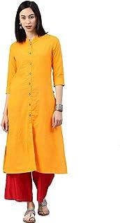 Alena Cotton Women casual wear kurta in Mustard Yellow Colour Size