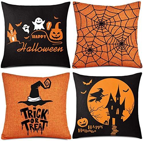 AmyTech 4 Pieces Halloween Pillow Case Autumn Pillow Case Trick or Treat Pillow Happy Halloween Linen Pillow Case Cover Throw Pillow Case Cushion Cover for Halloween Party Decorative 18'x 18'