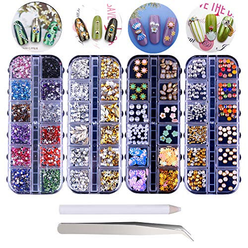 Nagel Kunst Strasssteine und Edelsteine, 4 Boxen Nail Art Supplies Kristalle Diamant Nagel Perlen Nails Strass Sticker Nagelschmuck Set mit Pinzette und Picker Stift für DIY Nägel Dekoration