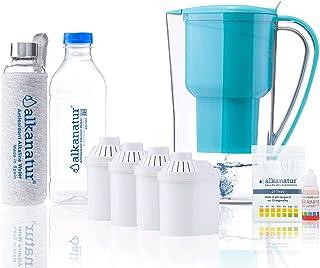 Alkanatur - Carafe filtrante alcalinisante certifiée - Lot de 4 filtres alcalinisants - L'eau antioxydante purifie et appo...