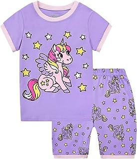 Pijamas Dos Piezas para Niña de Verano de Manga Corta 100% Algodón, Precioso Regalos de Pascua para Niña, Ropa de Dormir p...
