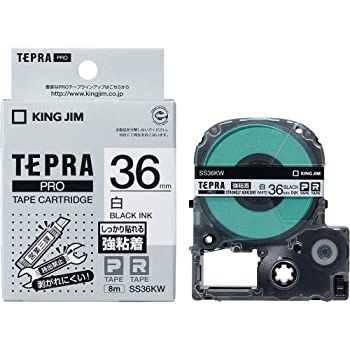 KING JIM テプラPROテープ強粘着タイプ白/黒文字 36mm SS36KW