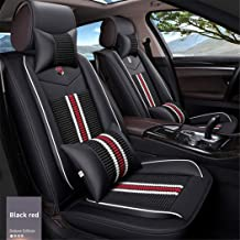 SureMart Car Seat Covers for Hyundai I20 I30 IX25 IX35 Accent Verna Elantra Luxury Leatherette Car Front and Rear Seat Protector Airbag Compatible Wear-Resistant Waterproof Black Red