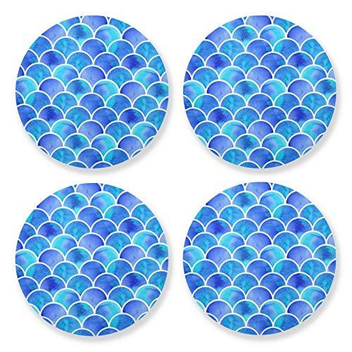 xigua 4 posavasos redondos para bebidas, resistentes al calor, con base de corcho, ligeros para mesa, tapete protector para tazas, escamas de sirena, azul