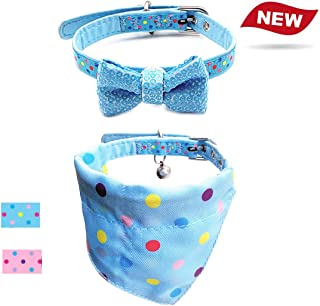 azuza Dog Birthday Bandana & Cute Bow Tie Dog Collar, Polka Dot Collar Bandana for Small Dogs Cats, Best Gifts for Dog Birthday Party, Happy Birthday Pet Accessory