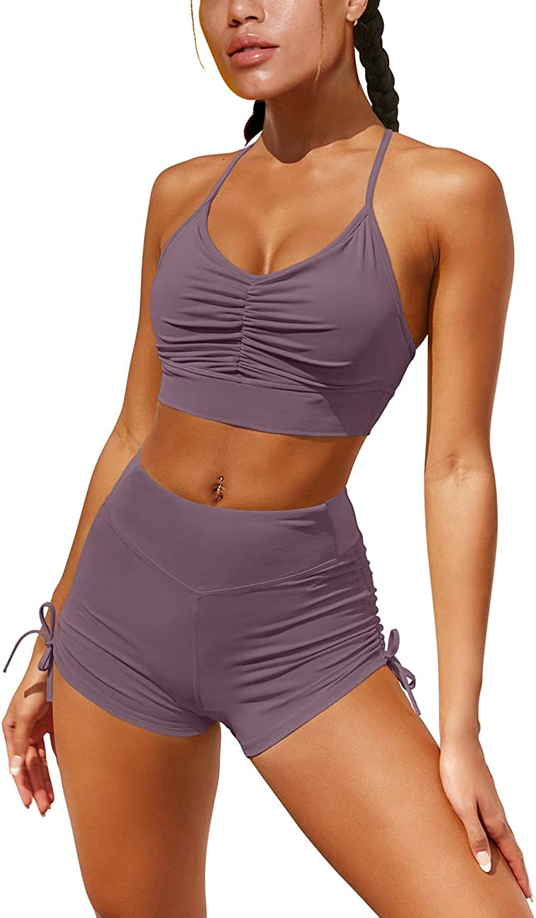 OQQ Women 2 Piece Leisure Yoga Workout Outfit Ruched Gym Running Shorts Racerback Sports Bra Set