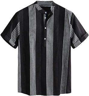 LUCAMORE Men's Regular-Fit Short-Sleeve Cotton Shirt Summer Stripe Hawaiian Shirt Buttons Casual Shirt Blouse