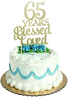 65 Years Blessed & Loved Cake Topper for 65th Birthday, Wedding Anniversary Party Decorations Gold Glitter