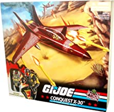 G.I Joe Python Patrol Cobra Vehicle Set - CONQUEST X-30 with Openable Canopy, Removable Missiles, Removable Bombs, Fold-Up Landing Gear plus Bonus 4 Inch Tall Python Patrol Viper Figure