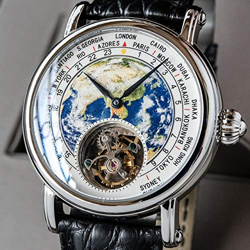 Delxwz Real ST8000 Reloj Hombres Movimiento Mecánico Marca de Lujo Marca Tierra Marcador Cuero Hombres S Relojes Reloj Hombre (Color : Silver)