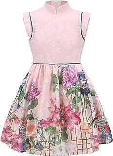 3-12 Years Old Baby Girls Vintage Chinoiserie Flowers Print Summer Tea-Dresses