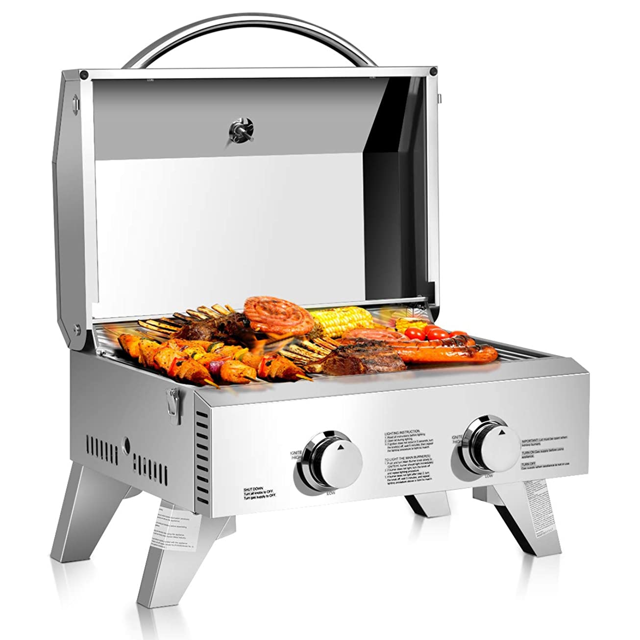 """Giantex Propane Tabletop Gas Grill Stainless Steel Two-Burner BBQ, with Foldable Leg, 20000 BTU, Perfect for Camping, Picnics or Any Outdoor Use, 22"""" x 18"""" x 15"""", Silver ksesnunpskbs7"""
