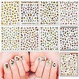 Qpout pegatinas de uñas de acción de gracias 600 patrones, pegatinas de uñas 3D de otoño, adecuadas para niñas, regalos de decoración de salón de uñas para niños, hoja de arce, calabaza, ardillaail