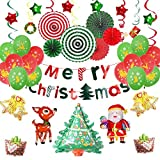 EEM Kit de Globos de Decoraciones navideñas 42 PCS - Feliz Navidad / Papá Noel / Árbol de Navidad / Ciervo / Campana / Globo de Aluminio, Globo de látex, Flor de Papel, Remolino Colgante