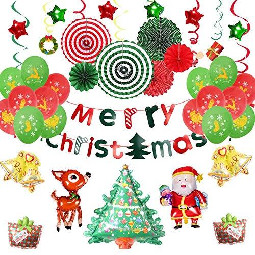 EEM Kit de Globos de Decoraciones navideñas 42 PCS - Feliz Navidad / Papá Noel / Árbol de Navidad / Ciervo /...