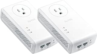 Zyxel AV2000 Powerline Kit, Pass-Thru, 2-Port Gigabit, Plug&Play, Up to 1800 Mbps (PLA5456BBKIT)